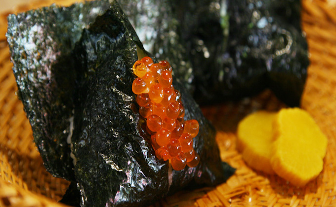 The Japanese food, Onigiri, is a must in Asakusa, Tokyo